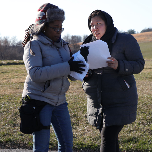 Mitra I Arthur, Assitant Director and Pamela Xing, Sound Recordist on set for BUMMER