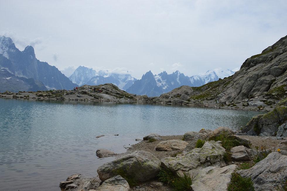 Lake along tour de mont blanc route