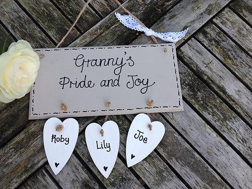 Pride and Joy plaque