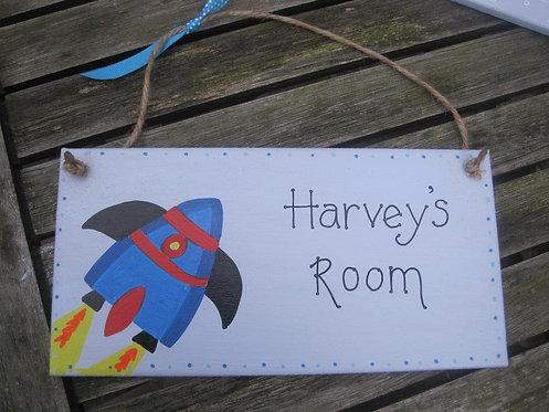 Rocket personalised bedroon hanger