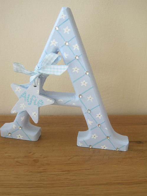 Blue freestanding personalised letter initial