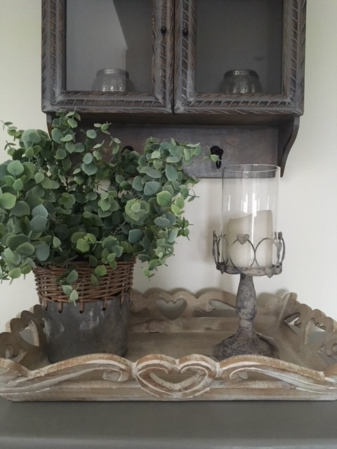 Rustic tall metal candle holder with wire hearts