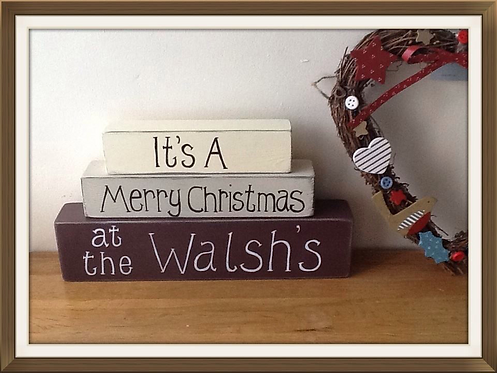 Wooden family christmas stacking blocks