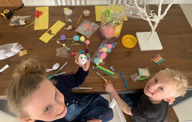 Children doing easter craft