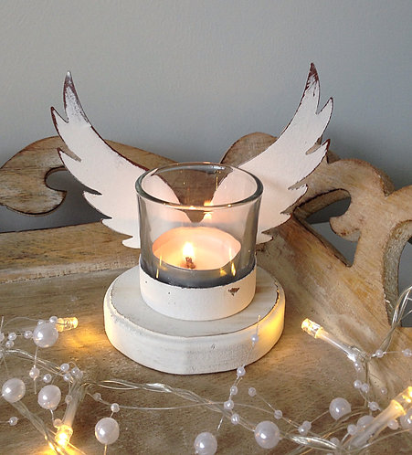 Stunning white angel wings tealight holder