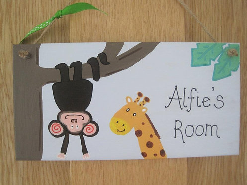Personalised Jungle style bedroom hanger