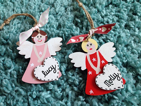 Personalised angel christmas decorations