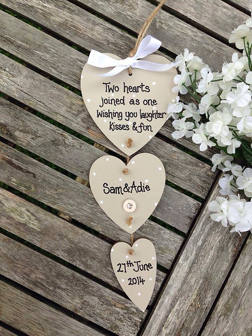 Trio of hearts wedding, engagement keepsake