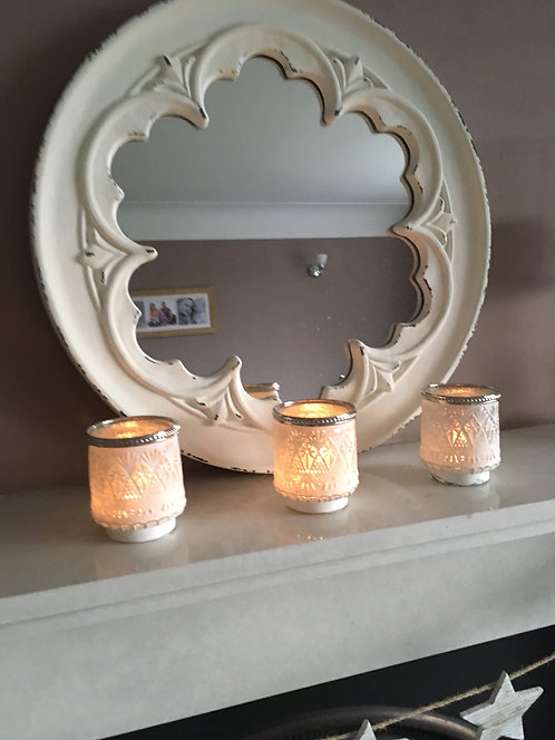White antique effect tealight holders