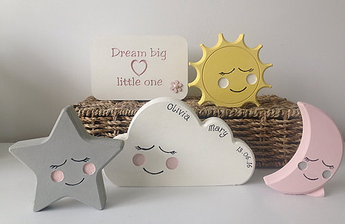 moon, star, cloud and sun raindrop nursery  bedroom set