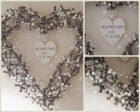 Crystal and pearl personlaised twiggy wreath