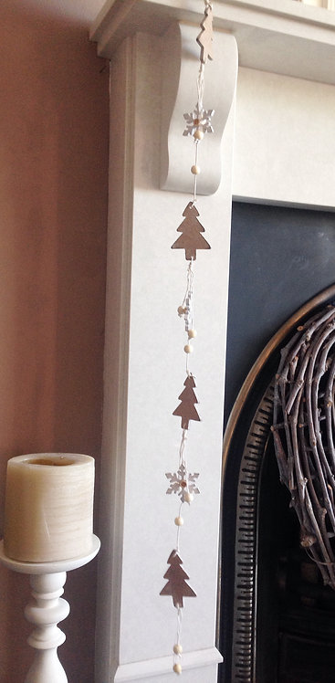 rustic wooden reindeer or tree garland