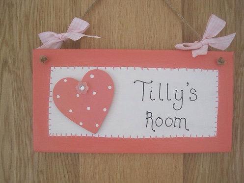 Girls personalised Pink heart door hanger
