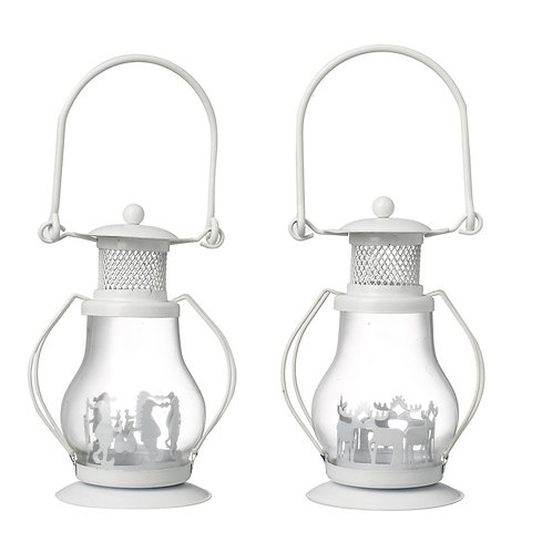 White metal tealight lanterns (set of 2)