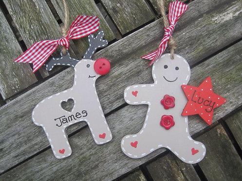Gingerbread or reindeer personalised decoration