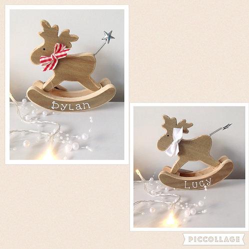 wooden rocking moose decoration