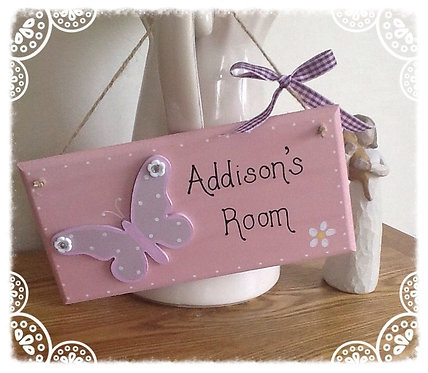 Butterfly pink and purple girl's bedroom hanger