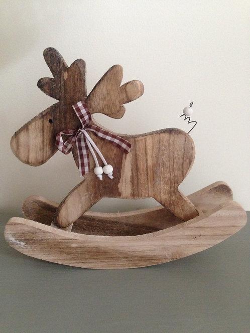 Wooden rustic rocking reindeer