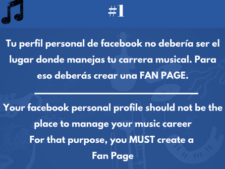 Music business hacktip #1. No uses tu perfil personal para promover tu carrera musical.