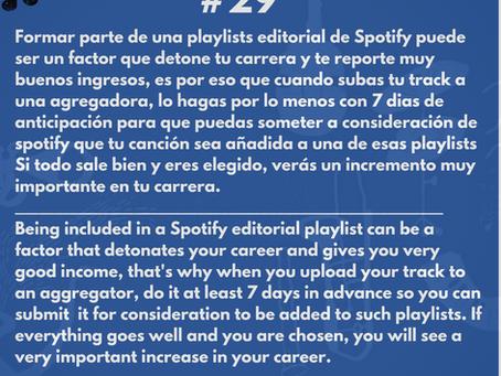 Manda tu track a spotify para la oportunidad de ser incluido en una playlist editorial