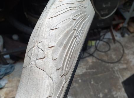 Angel of peace banjo heel carving
