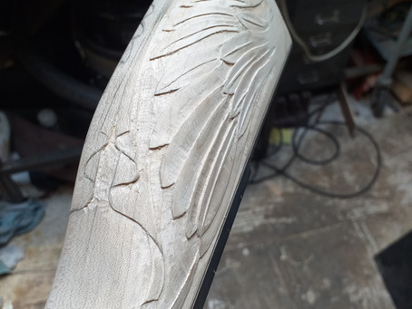 Angel of peace banjo heel carving