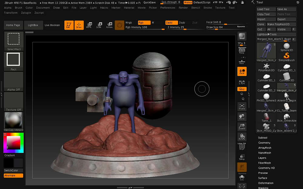 Screenshot of Zbrush project