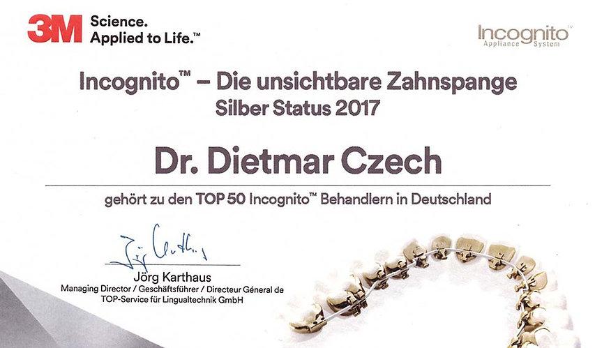 Incognito – die unsichtbare Zahnspange. Zertifkat für Kieferorthopäde Dr. Czech Ulm, Kieferorthopäde für Erwachsene
