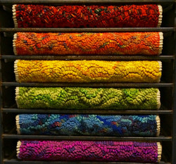 Hooked rug, pride colours