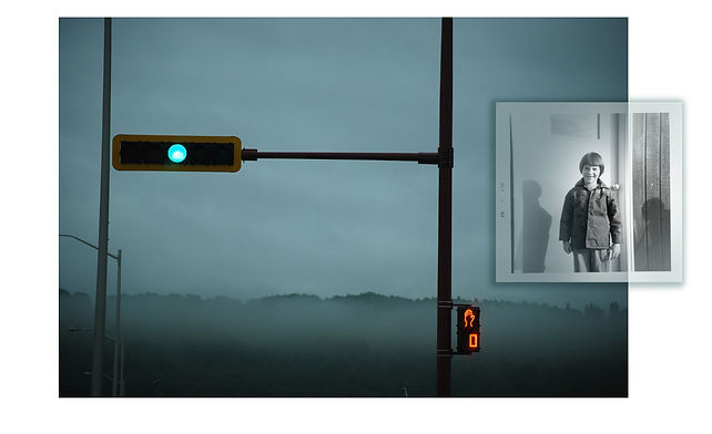 green stoplight, misty morning, inset of Christine as a child