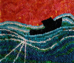 Hooked rug, boat on the sea