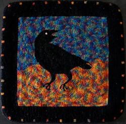 hooked rug, crow