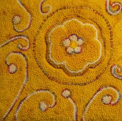 Rug hooking, yellow flower