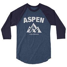 Aspen Colorado USA - 3/4 sleeve raglan shirt (Multi Colors) The Rockies American Rocky Mountains