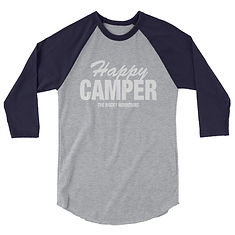 Happy Camper - 3/4 sleeve raglan shirt (Multi Colors) The Rocky Mountains Canadian American Rockies