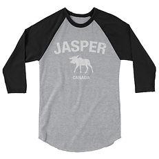 Jasper Moose Alberta Canada - 3/4 sleeve raglan shirt (Multi Colors) The Rockies Canadian Rocky Mountains