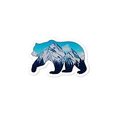 Snowy Rocky Mountains Bear - Vinyl Bubble