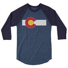 Colorado Flag USA - 3/4 sleeve raglan shirt (Multi Colors) The Rockies American Rocky Mountains