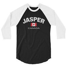 Jasper Alberta Canada - 3/4 sleeve raglan shirt (Multi Colors) The Rockies Canadian Rocky Mountains
