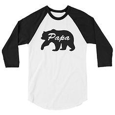 Papa Bear - 3/4 sleeve raglan shirt (Multi Colors)