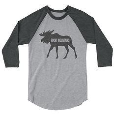 Rocky Mountain Moose - 3/4 sleeve raglan shirt (Multi Colors) The Canadian American Rockies