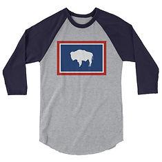 Wyoming Flag - 3/4 sleeve raglan shirt (Multi Colors)
