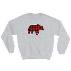Plaid Bear - Sweatshirt (Multi Colors) The Rocky Mountains Canadian American Rockies