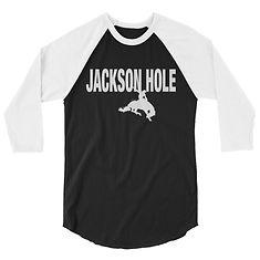Jackson Hole Wyoming USA - 3/4 sleeve raglan shirt (Multi Colors) The Rockies American Rocky Mountains
