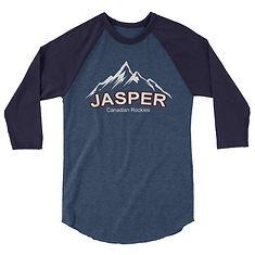 Jasper Mountain Alberta Canada - 3/4 sleeve raglan shirt (Multi Colors) The Rockies Canadian Rocky Mountains