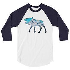 Aurora Moose - 3/4 sleeve raglan shirt (Multi Colors) The Rocky Mountains, Canadian American Rockies