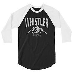 Whistler British Columbia Canada -3/4 sleeve raglan shirt (Multi Colors) The Rockies Canadian Rocky Mountains