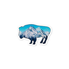Snowy Rocky Mountains Bison - Vinyl Bubble stickers