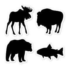 Animal Silhouette (4 Pack) Vinyl Bubble-free Stickers