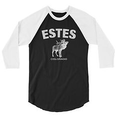 Estes Colorado USA - 3/4 sleeve raglan shirt (Multi Colors) The Rockies American Rocky Mountains